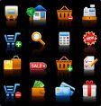 Shopping black background vector image