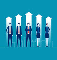 successful business team standing together vector image