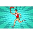 The man athlete torchbearer sports fire summer vector image vector image