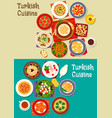 turkish cuisine icon set for restaurant design vector image vector image