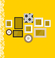 Vintage frames on yellow wall vector image vector image