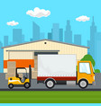 warehouse and transportation services vector image vector image