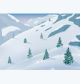 winter landscape with snow trees and mountains vector image vector image