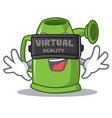with virtual reality watering can character vector image vector image
