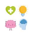 world mental health day cartoon brain profile vector image vector image