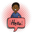young afro man and speech bubble with hello vector image vector image