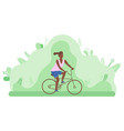 young girl rides a bicycle in a forest or park vector image vector image