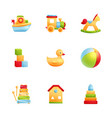baby first toys realistic icon set vector image