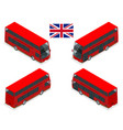 isometric set of london double decker red bus vector image