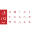 15 bank icons vector image vector image