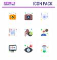 9 flat color set corona virus epidemic icons vector image vector image