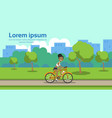 african american woman cycling city park green vector image vector image