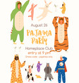 announcement pajama party poster flat vector image vector image