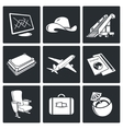 Avia Air flights icon set vector image vector image