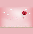 balloon flying over cloud with pink heart float vector image vector image