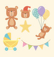 bashower card with little bears characters vector image vector image