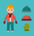 boy with winter clothes to cold weather vector image