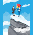 businessman standing on top mountain with flag vector image