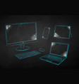 chalk drawn computers devices vector image