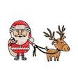 color crayon stripe cartoon of santa claus with vector image vector image
