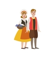 Couple In French National Clothes vector image vector image