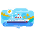 cruise ship in sea design flat vector image vector image