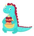 cute dinosaur holds birthday cake vector image
