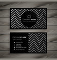 dark business card design with zigzag line shapes vector image vector image
