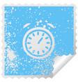 distressed square peeling sticker symbol alarm vector image vector image