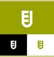 e and u letter monogram shield web icon vector image vector image