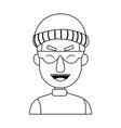 face hacker man character technology crime vector image