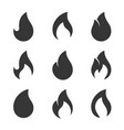 fire flames icons set on white background vector image vector image
