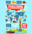 fishing sport infographic with fisheries world map vector image vector image