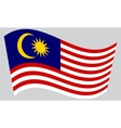 Flag of Malaysia waving on gray background vector image vector image