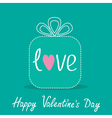 Gift box with word love Dash line Valentines Day vector image vector image