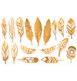 golden luxury tribal feathers set gold boho vector image vector image