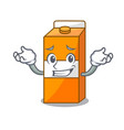 grinning package juice character cartoon vector image vector image