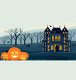 halloween dark color castle with yellow lights vector image vector image