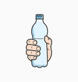 hand hold water bottle male plastic water vector image vector image