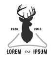 hipster logo with silhouette of deer and twigs
