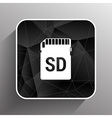 Icon SD card black silhouette symbol vector image