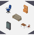 isometric furniture set of cupboard sideboard vector image