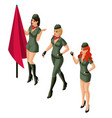 isometric girl 3d sexy girl in military uniform vector image