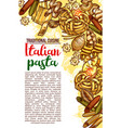 italian pasta restaurant menu sketch poster vector image vector image