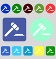 judge hammer icon 12 colored buttons Flat design vector image vector image