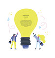 lightbulb and workers vector image vector image