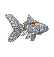 mechanical fish animal color sketch engraving vector image vector image