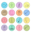 Multicolored Thin Line Icons Gardening Equipment vector image vector image