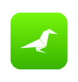 origami raven icon green vector image