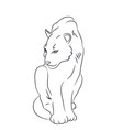panther sits drawn by lines vector image vector image